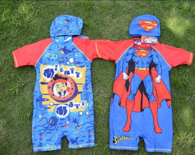 EMS/DHL Free shipping 2016 New 4Design Boy Children Sp**er Man Cartoon Swimming + Cap Boy Swimwear