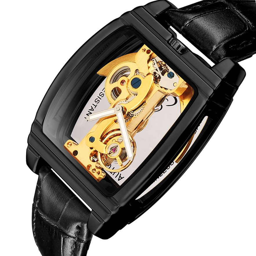 Automatische Mechanische Uhr Männer Steampunk Skeleton Self Winding Leder Uhr montre homme