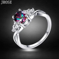 Brand JROSE Engagement Oval Cut Wholesale Rainbow White Topaz Jewelry 18K White Gold Plated Ring For Women Size 6 7 8 9 10