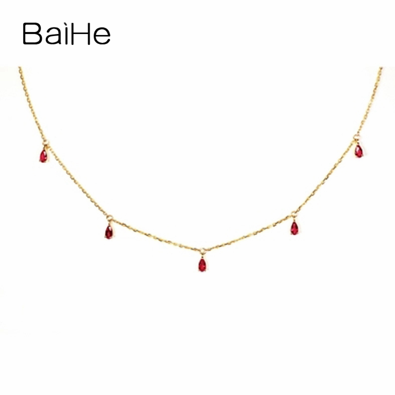 BAIHE Solid 18K Yellow Gold 0.70ct-0.80ct Certified Flawless Genuine Natural Ruby Engagement Women Trendy Fine Jewelry Necklaces baihe solid 18k yellow gold au750 engagement
