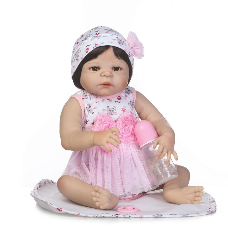 57cm Full Silicone Vinyl Lifelike Reborn Princess Girl Baby Doll Babies Toy Kids Play House Toys Girls Christmas Gift 23full silicone vinyl reborn baby doll toys play house reborn girl boy babies kids child brithday christmas gift girls brinqued