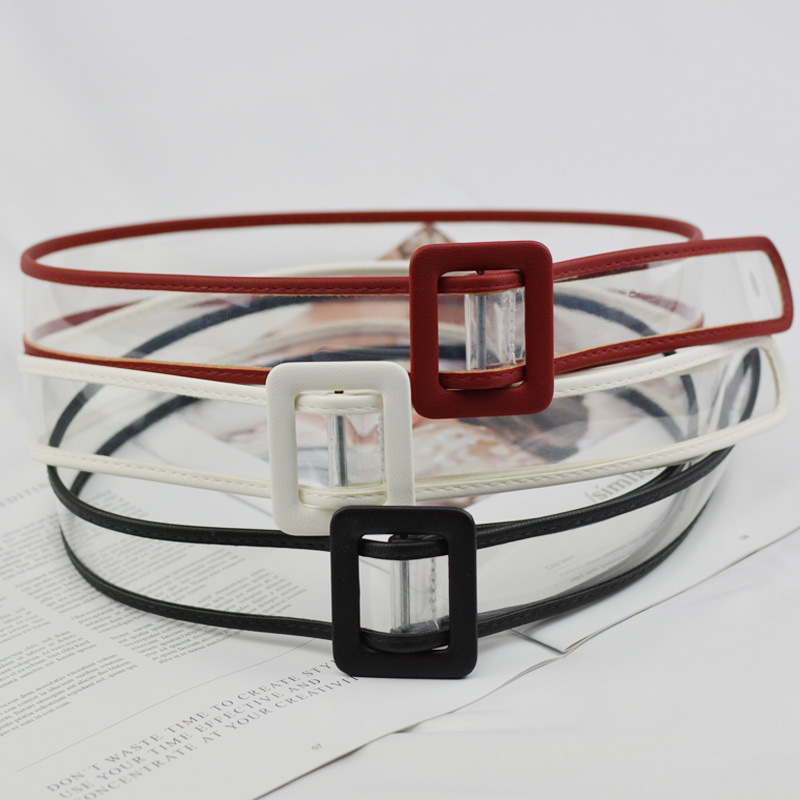Women Waist Belt Resin Transparent Belt Dress Band Belt Rectangular Buckle  Black White Leather Strap