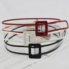 Women Waist Belt Resin Transparent Dress Band Rectangular Buckle  Black White Leather Strap
