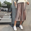 Zewo Autumn Winter Fashion Metal Velvet Skirts Womens Pleated Solid High Waist Vintage Casual Long Skirt 6 Colors Female 2017