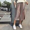 Zewo outono inverno metal moda velvet saias das mulheres plissadas sólidos cintura alta vintage saia longa casual 6 cores feminino 2017