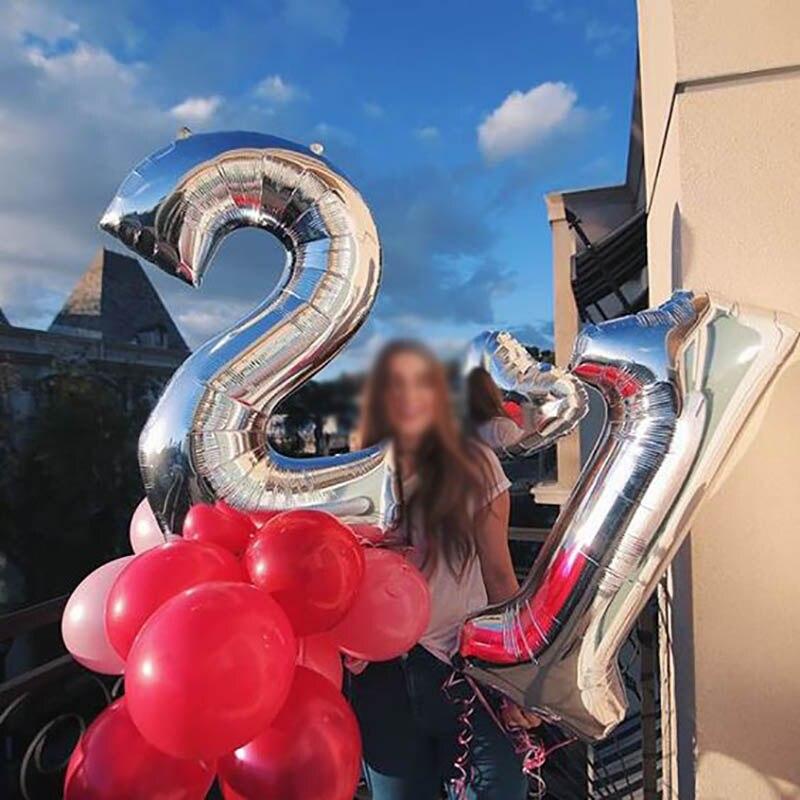 16/32 дюйма номер алюминиевый воздушный шарик из фольги в форме розового цвета: золотистый, серебристый цифры рисунок воздушный шар для детей и взрослых, украшения для свадьбы и дня рождения вечерние поставки-1