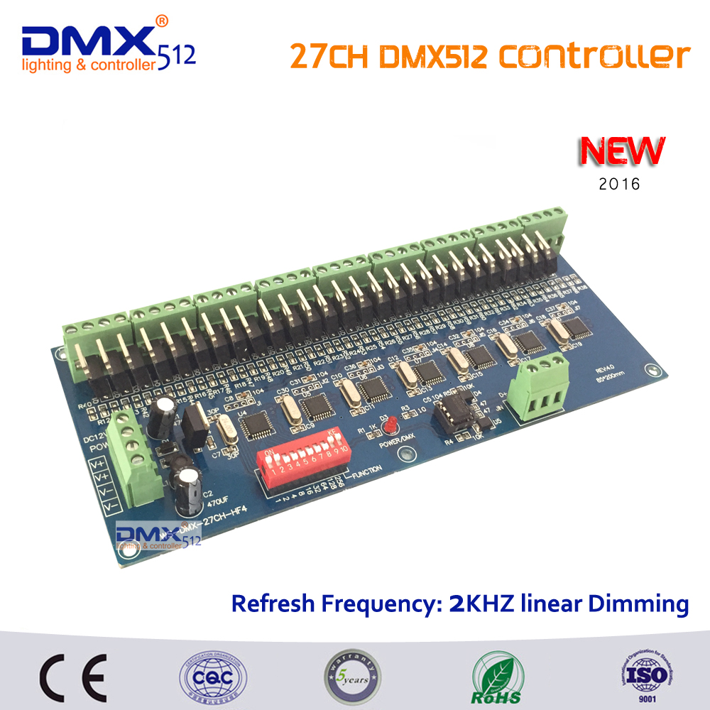 Free shipping  27 channel dmx512 decoder, each output frequency 2KHZ linear dimming, 27CH DMX controller for LED shtip light 24ch easy dmx512 decoder led dimmer controller dc5v 24v 24ch dmx decoder each channel max 3a 8 groups rgb controller iron shell