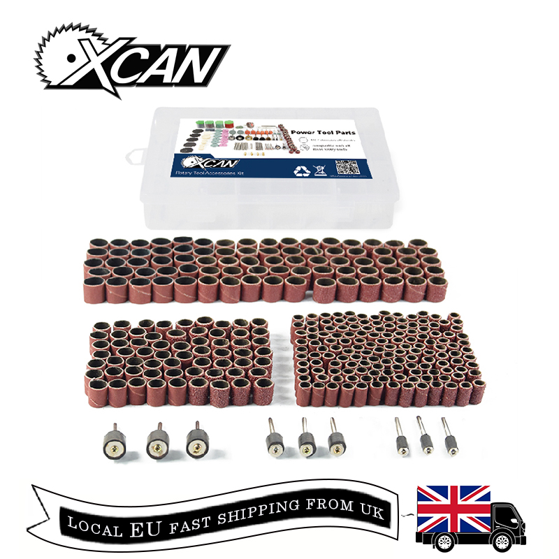 XCAN! 338pcs #60 #120#320 Sanding Band with 3/8 1/4 1/2 Rubber Mandrel for Dremel Electric Mill Rotary Tools Accessories Kit