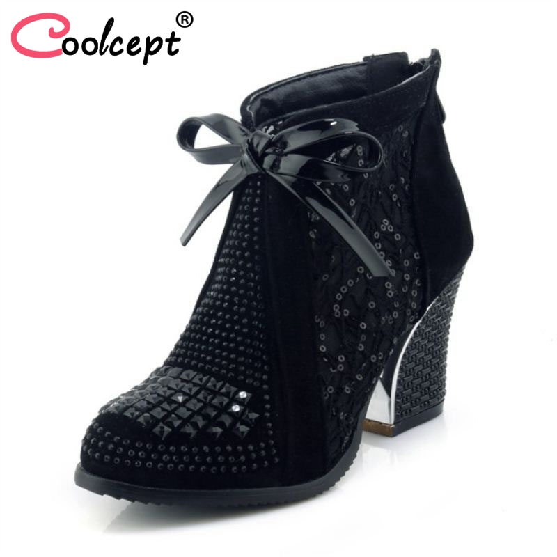 RAZAMAZA Size 33-43 Women High Heel pumps Round Toe Lace Up Lace Ankle Boots Ladies Sexy Elegant Shoes Party Dress Footwear