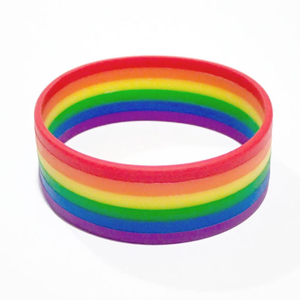 50pcs Wholesale New Fashion Silicone Rainbow Pride Bracelet Mutilayered Rubber Gay Lesbian Wristband Jewelry Freeshipping