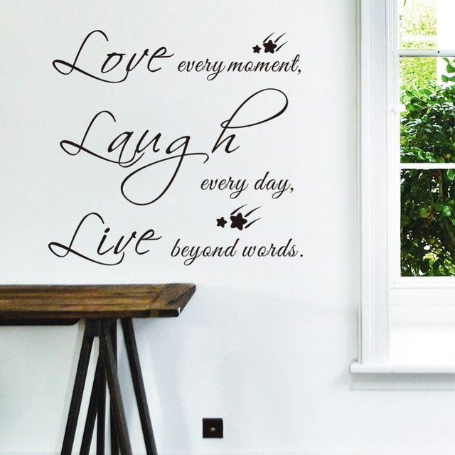 Love Laugh Live Wall Stickers Quotes Sayings Family Home Decoration Decals Art Vintage Poster Wallpaper