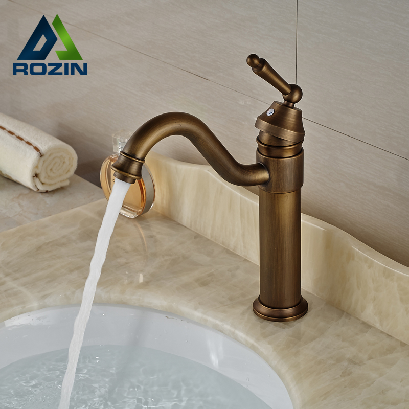 ФОТО Good Quality Single Lever Basin Vessel Sink Faucet Deck Mount Hot Cold Bathroom Mixer Tap Antique Brass Finished