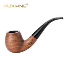 MUXIANG  10 Tools Kit Imported  kevazingo wood  Bent Wooden Tobacco Pipe for Smoking 9mm filter Good for Mens Collection ad0018