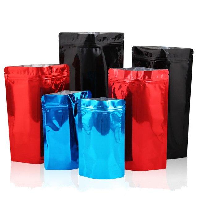 Atacado 50 pcs Brilhante Preto/Vermelho/Azul Saco Doypack Ziplock Da Folha de Alumínio Saco de Embalagem de Chá de Café Em Pó de Chocolate saco à prova d' água