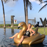 190cm Giant Gold Swan Float Inflatable Ride On Swan Swimming Ring Pool Floating Lounge For Adult Water Mattress Pool Toy Piscina