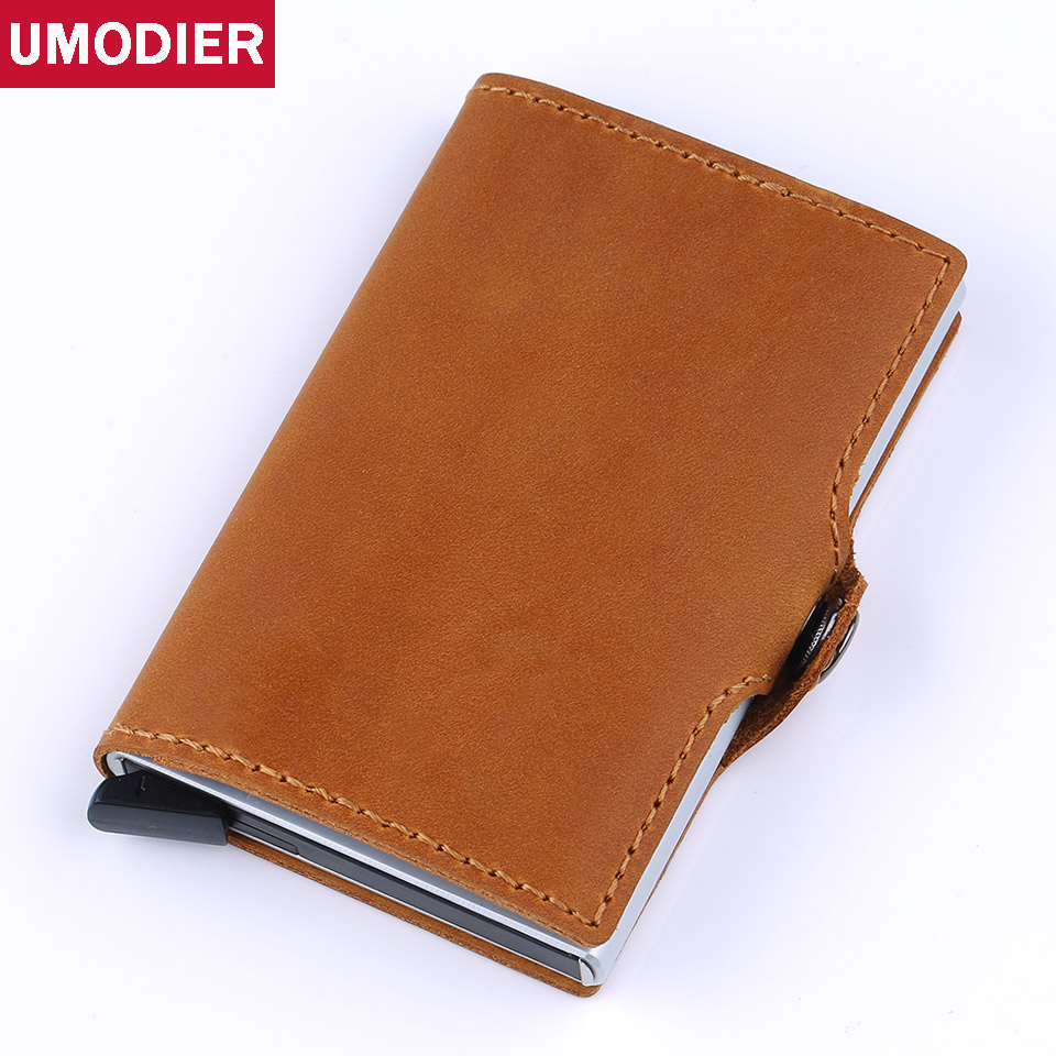 UMODIER 2018 Men And Women Genuine Leather Business Credit Card Holder Purse RFID Slim Aluminium Card