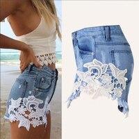 2018 verão lace oco out sexy cowboy shorts feminino hot shorts estilo Grunge calças jeans casuais calções calções de renda branca curta mulher