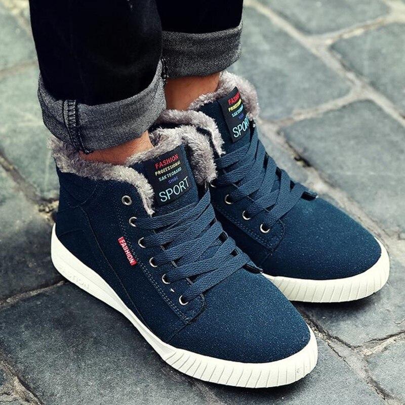 Hiver Plus Hommes Troupeau Pour 68 Homme green Chaud Chaussures High Fourrure Top Black blue Sneakers Taille L'hiver 28 De Casual 4jL35AR