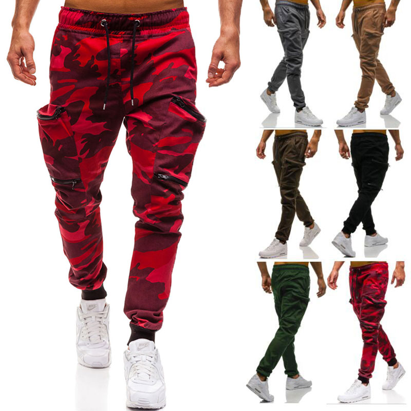 Leg-Trousers Cargo-Pants Jogger Pockets Skinny Straight Mens Camouflage Casual Fit Pencil