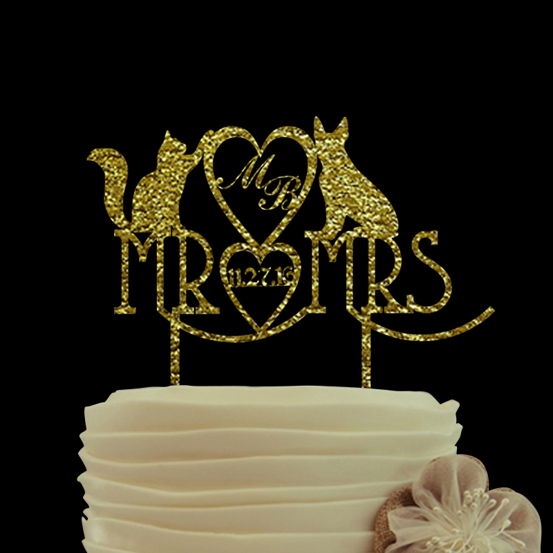Mr And Mrs Gold Wedding Cake Topper
