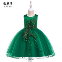 Baby Girls Clothes for 2 to 10 Years Flower Embroidery New Green Princess Dress Kids Birthday Party Outfit Girls Costume 6B3A