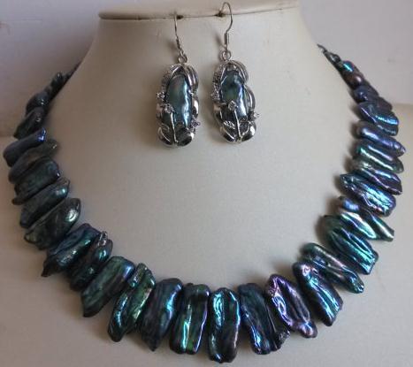 Charmant ensemble de bijoux en perles véritable culture noir Biwa collier de perles 17 pouces ensemble de boucles d'oreilles