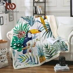 BeddingOutlet Toucan aves Sherpa manta para camas planta Tropical terciopelo felpa manta piña colcha 1 pc