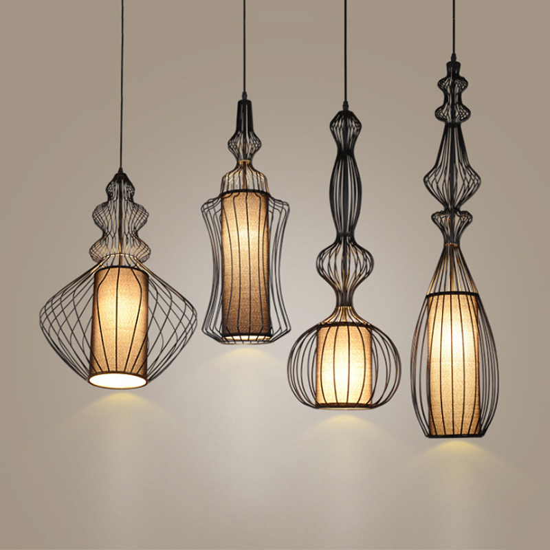Contemporary Wrought Iron Bibet Pendant Light Black Cage Hanging Fabric Shade Pendant Lamp Indoor Lighting Fixture Restaurant