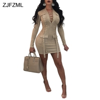 ZJFZML Leather Suede Sexy Formal Dress Autumn Women Cross Lace Up V Neck Bandage Dress 2017