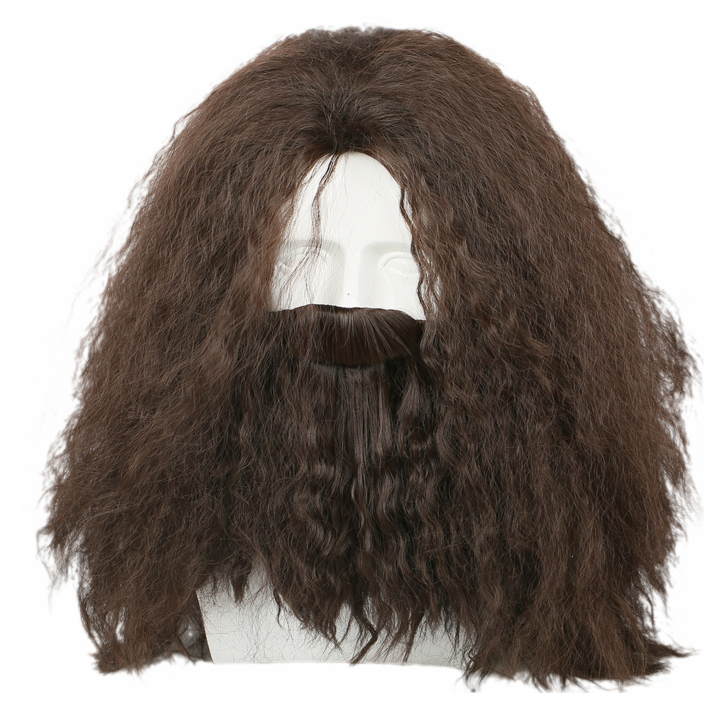 Harry Potter Hagrid Cosplay Costume Accessories Brown Long Curly Wavy Hair Halloween Party Cosplay Wig High Temperature Silk Wig