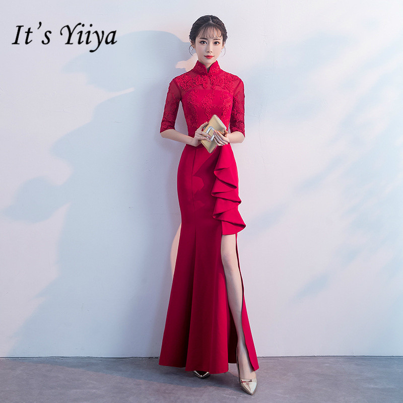It's YiiYa Wine Red Ruffles Dinner Party Dresses Vestidos Charming Split Mermaid Evening Gowns H202