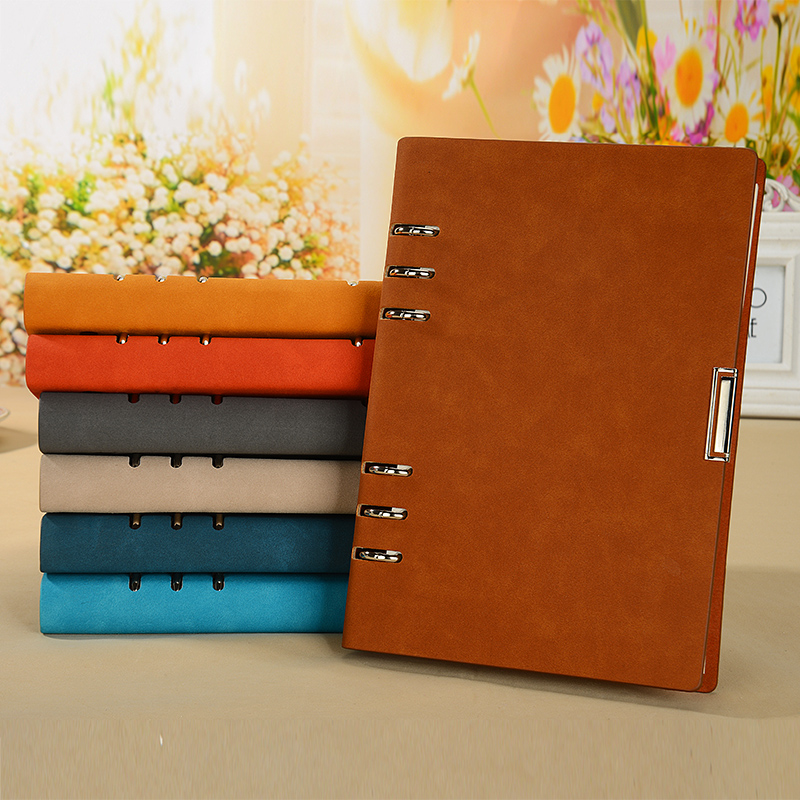 A5 A6 B5 Notepad 6 holes clamp diary loose-leaf business notebook stationery note book handmade agenda journal planner high quality pu cover a5 notebook journal buckle loose leaf planner diary business buckle notebook business office school gift