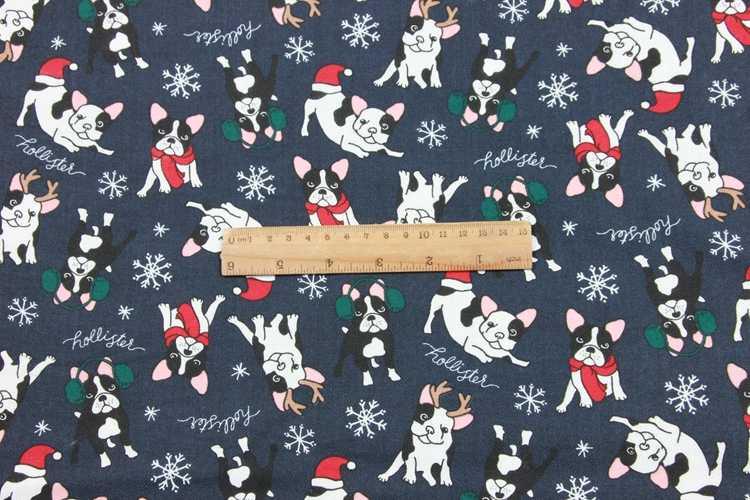 ครึ่ง twill แปรงการ์ตูนสุนัขพิมพ์ผ้าทำด้วยมือ DIY เสื้อผ้าเด็กผ้าผ้าฝ้าย 100% T548
