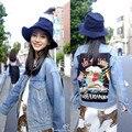 2017 Primavera e No Outono Harajuku Letras Bordado Jaqueta Jeans Mulheres Jeans Rasgado Solto estilo BF Jaqueta chaquetas mujer 1807
