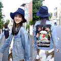 2017 Spring and Autumn Harajuku Letters Embroidery Denim Jacket Women Loose Ripped Jeans Jacket BF style chaquetas mujer 1807