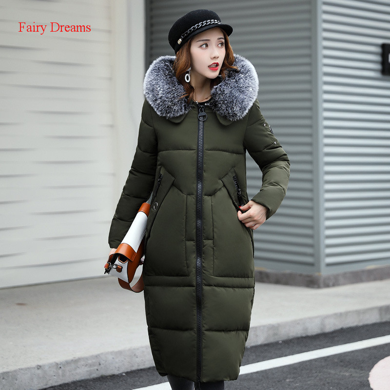 Fairy Dreams Womens Long Jacket Winter Coat Made Of Goose Feather Down Parka Fur Hooded Plus Size Clothes Gray Black Green Red