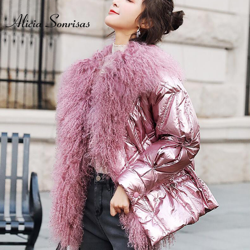 2019 Winter Jacket Women White Duck   Down     Coats   Large Natural Lamb Fur Collar Loose Parkas Outerwear Waterproof Glossy Jackets