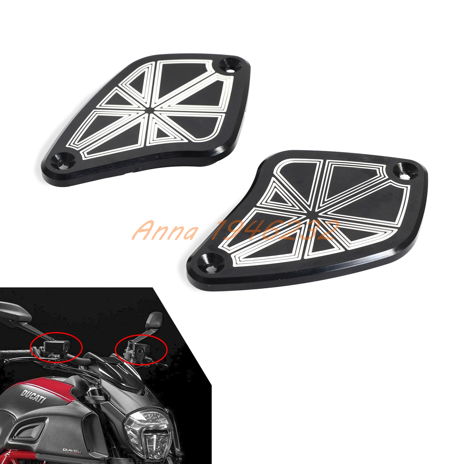 Motorcycle CNC Anodized Aluminum Brake Clutch Caps for Ducati Diavel 2011 2012 2013 2014 2015