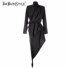 [TWOTWINSTYLE] 2017 Spring Irregular Pleated High Waist Long Sleeve Stand Collar T Shirt Women New Fashion Clothing