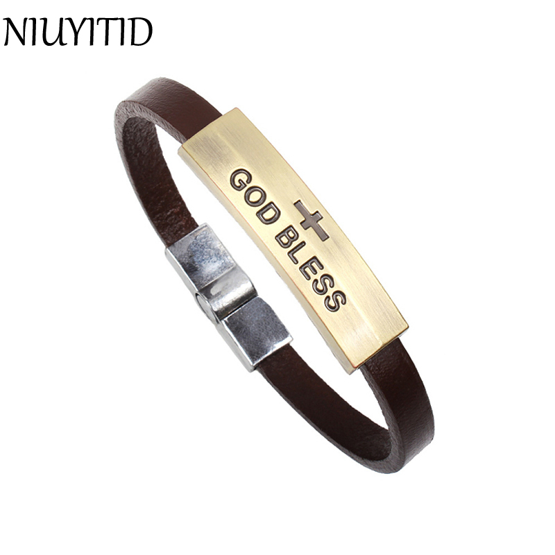 NIUYITID retro jesus cross god bless charm bracelet men and women leather bracelet fashion pulceras mujer