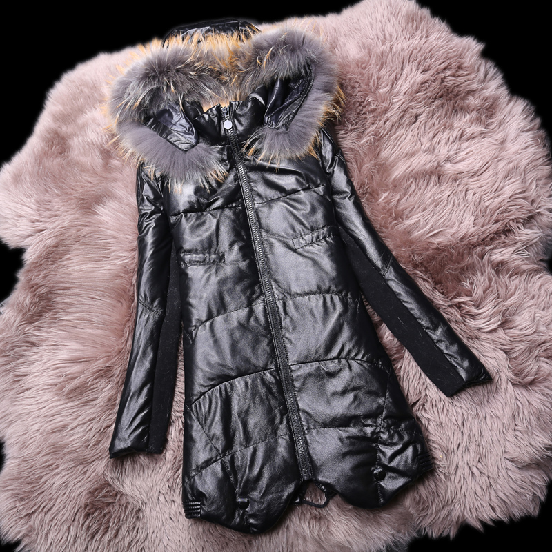 Plus Size New Fashion Down jacket,Slim Sheepskin Hooded 100% Real Leather coat raccoon fur jacket Women Free shipping FQ1109