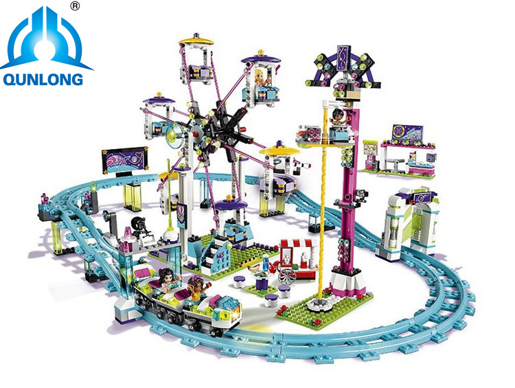 Legoing 1124Pcs Amusement Park Coaster Building Kits Girl Blocks Bricks Toys Compatible With
