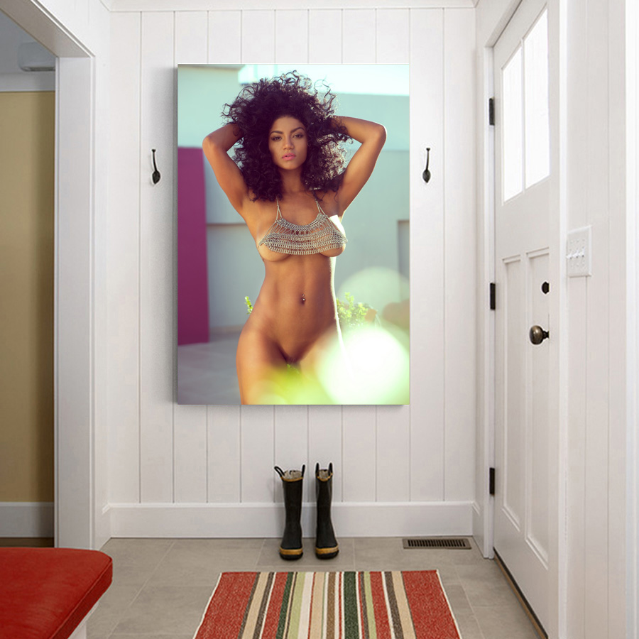 Canvas Posters Beautiful girl Sexy woman Model body photography Wall Art Silk Printed Framed Painting for Room Decor 4