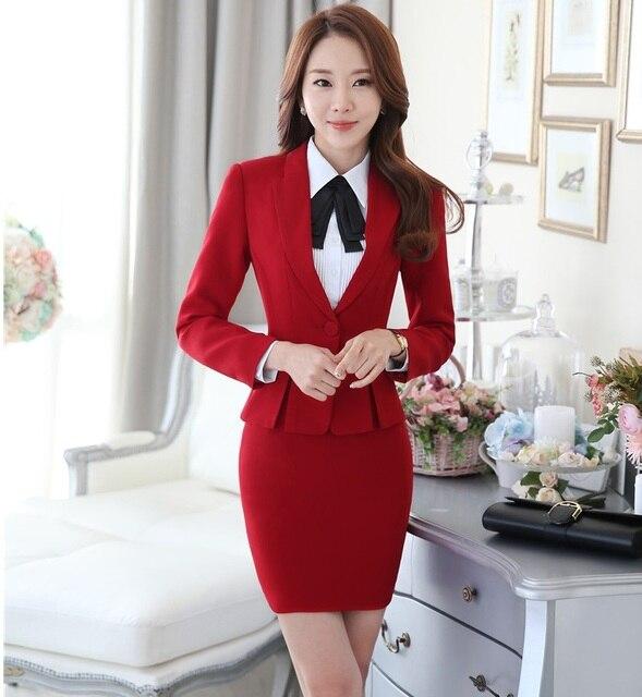 36d7942f0cf1 US $42.93 10% OFF|Neuheit Rot Herbst Winter Formale Uniform Design  Professional Business Anzüge Mit Blazer Und Rock Büro Damen Blazer Outfits  in ...