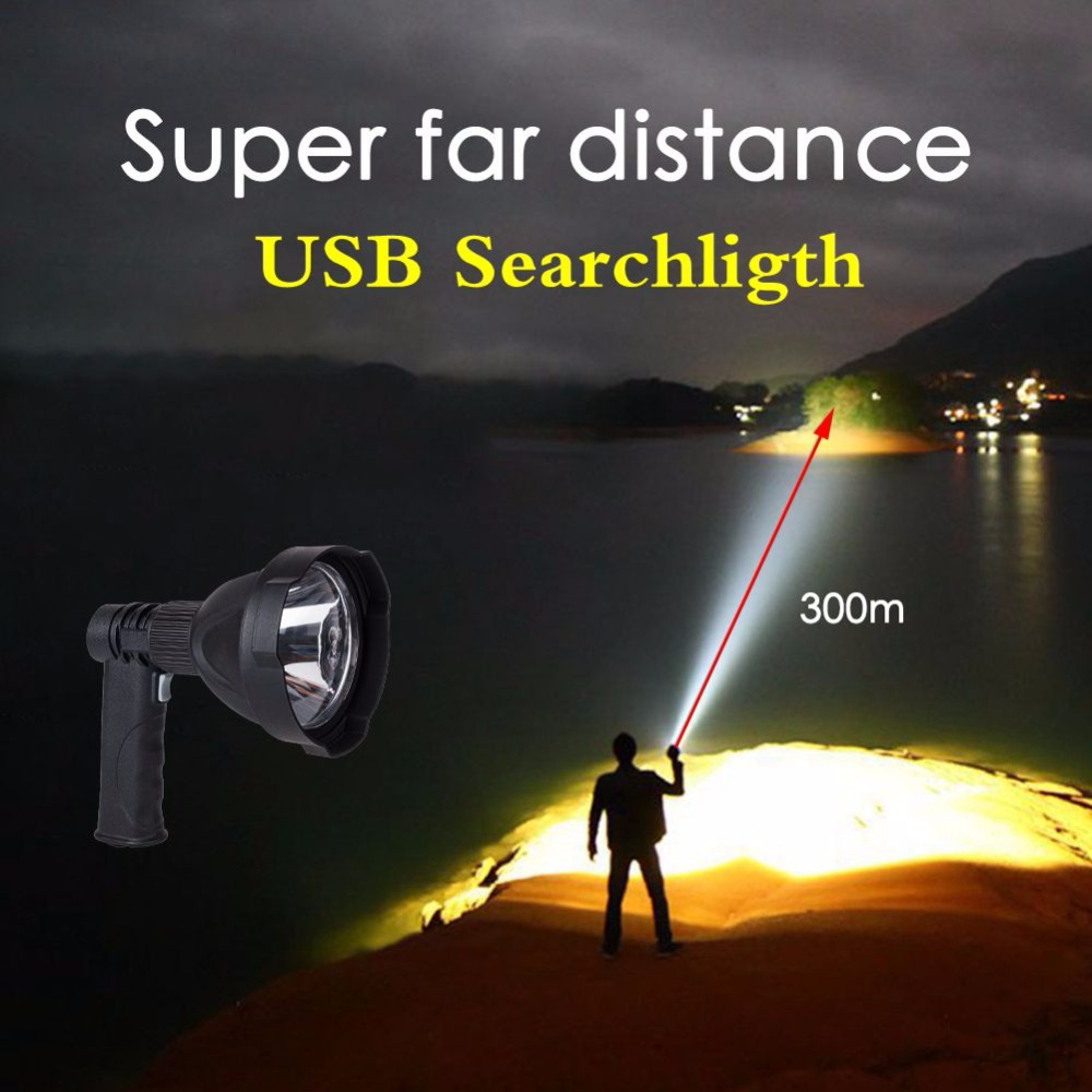 Highpower  LED L2 rechargeable built-in batteryhandheld vehicle searchlights outdoor usb spotlight