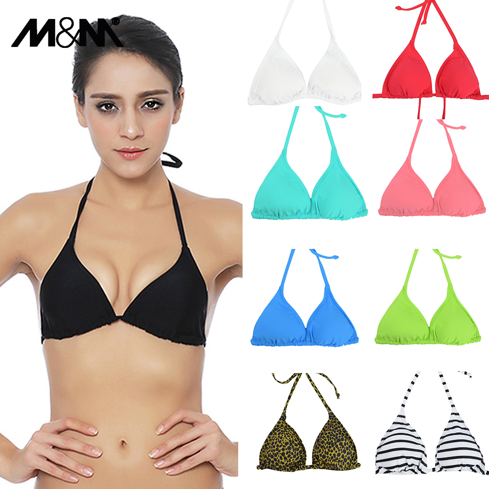 M & M Kvinnor Bikini Top Micro Bikini Samll Push Up Ruched String Solid Baddräkt Beach Sexig Baddräkt Sporty Girls Beach Wear T606
