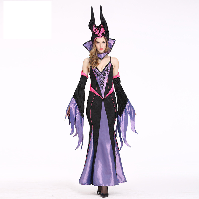Halloween European and American Queen Costume Witch Costume Role Play Queen Uniform Maxi Long Dress With Hat & Collar