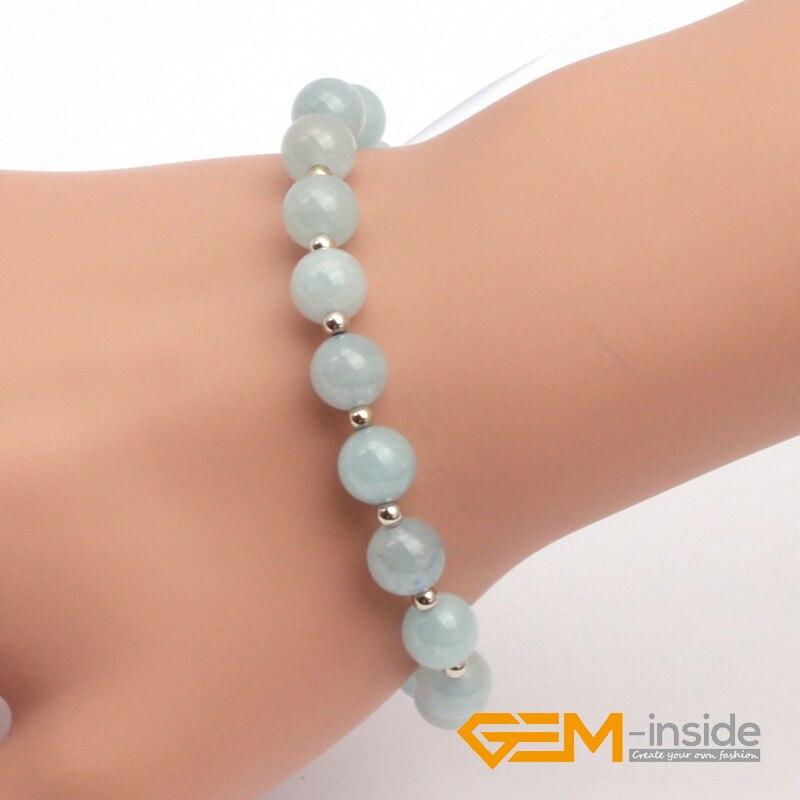 8mm Aquamarines Bracelet Natural Stone Bracelet Lucky Stone For Libra, Sagittarius And Scorpio Birthstone Wholesale