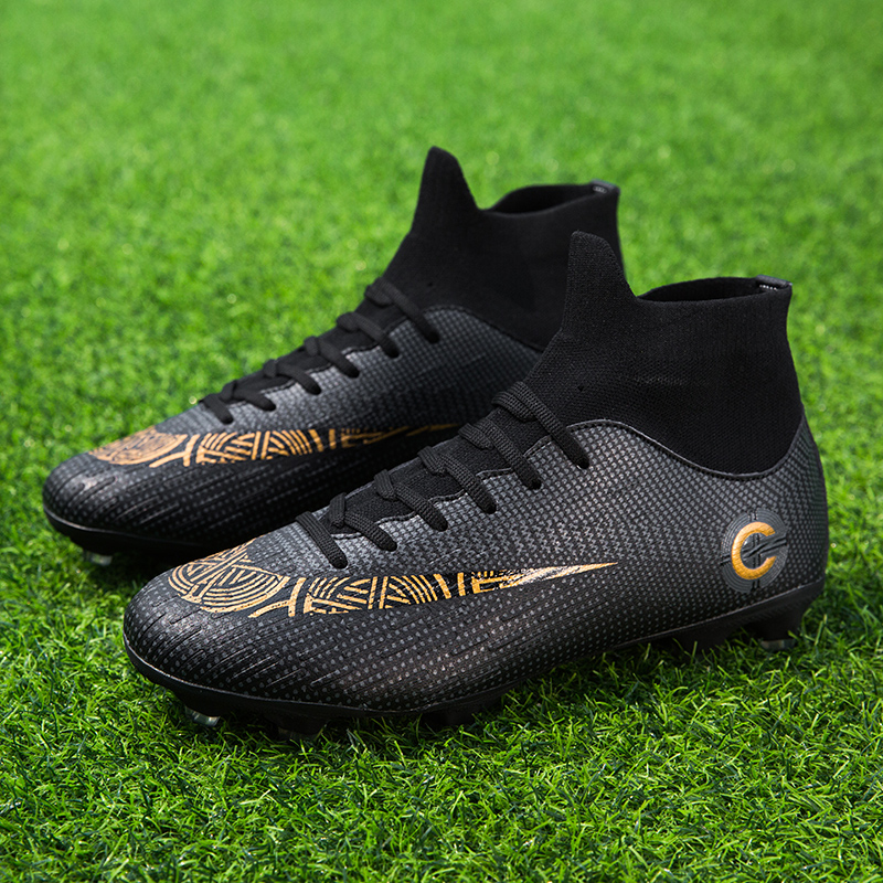 Men's High Top Training Ankle AG Sole Outdoor Cleats Football Shoes Spike High Ankle Men Crampon Football Boots Original Cleats 5