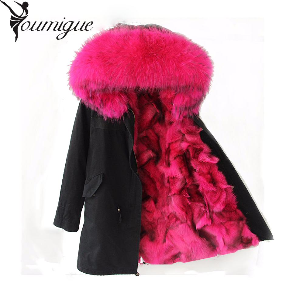 YOUMIGUE Winter Jacket Women Army Black Green Parka Coats Real Large Raccoon Fur Collar Fox Fur Lining Hooded Outwear Free DHL women large collar army camouflage fox fur liner hooded coat outwear real fox fur lining jacket woman brand dhl free shipping